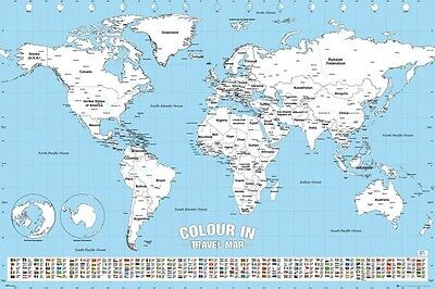 Colour Me In Travel MAP Of The World Educational POSTER (61x91cm) Colour