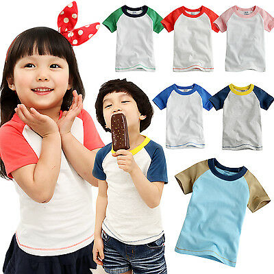 Wholesale lots Vaenait Baby Toddler Kids Unisex 6 Colors Raglan T-Shirts 12M-5T