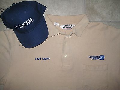 Vintage CONTINENTAL AIRLINES Uniform Hat Cap Tan Polo Knit SHirt Lot XL USED