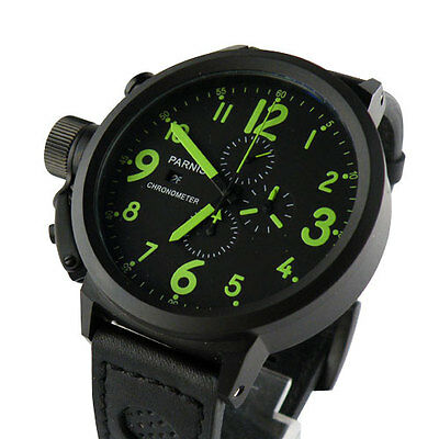 50mm Parnis Full chronograph black dial PVD  Big Face Green No. mens WATCH P140