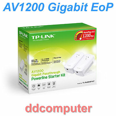 TP-Link AV1200 Gigabit Powerline Starter Kit Ethernet over Power EoP TL-PA8010P