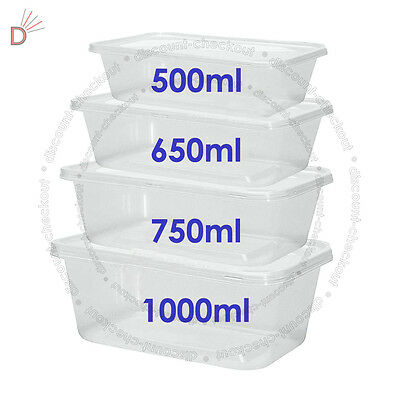 All Sizes - Plastic Containers Tubs Clear With Lids Microwave Food Safe Takeaway
