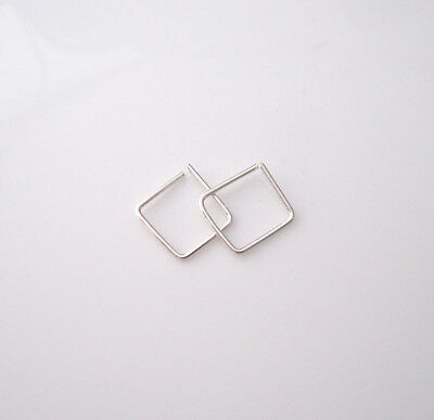 Square sterling silver, yellow or rose gold filled sleepers hoops earrings