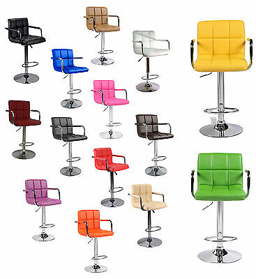 Kitchen Breakfast Faux Leather Bar Stool Dining Chair PU Swivel Pub Barstools UK