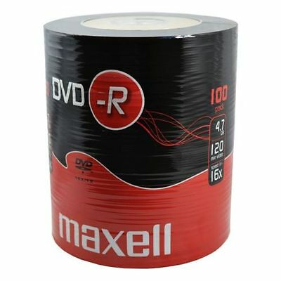 100 MAXELL DVD-R DVDR BLANK DISCS RECORDABLE DVD 16x 4.7GB