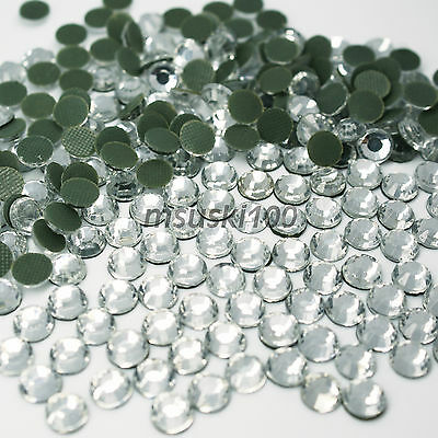 1000 Crystal Iron On Rhinestones Clear Glass Hotfix Flatback Gem Bling Dmc