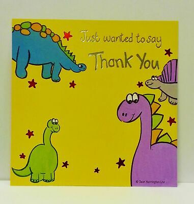 Pack of 10 Thank You Dinosaur Design Card Sheets Birthday Party