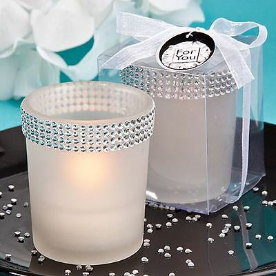 Set of 6 Bling Collection White Candle Holder Wedding & Party Favours