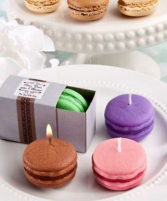 4 Assorted Trendy Macaron Candle Wedding & Party Favours Green & Purple