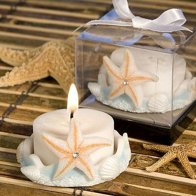 Set of 6 Starfish Design Favour Saver Candle Wedding & Party Favours