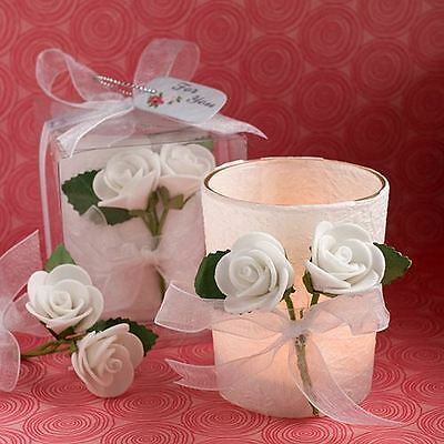 Set of 6 White Rose Candle Wedding & Party Favours White