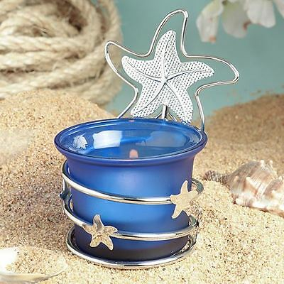 Set of 6 Starfish Design Beach Themed Candle Wedding & Party Favours Blue
