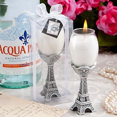 6 X Tres Chic Eiffel Tower Candle Holder Wedding & Party Favors Silver & White