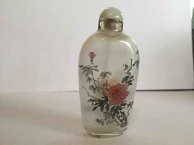 Very Rare Chinese Inside Hand Painted Glass Snuff Bottle Flowers