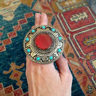 "2.5"" Big Round Boho Ring Amber Brown Setting Oxidized Tribal Style Size 8.5"