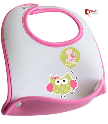 PERSONALISED 1st First Birthday Bib Cute Owl Design - Any Name & Date