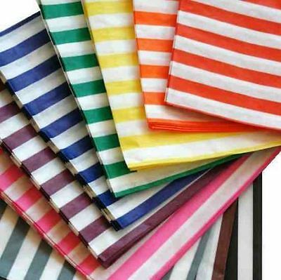 """Colour and White Candy Stripe Paper Sweet Bags Wedding 7"""" X 9"""" Pick 'n' 5"""" x 7"""""""
