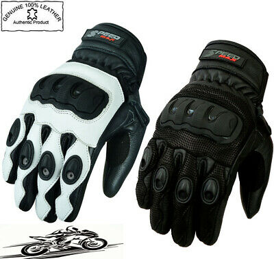 Mens Extra Vented Knuckle Short Summer Motorbike / Motorcycle Leather Gloves