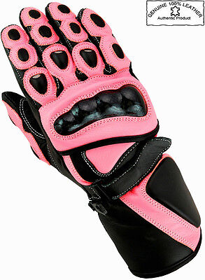 Ladies Pink Hawk Womens Motorbike / Motorcycle / Motocross Leather Gloves