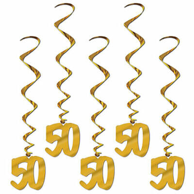50th Birthday Anniversary Party Supplies  Gold Whirls Hanging Decorations Swirls
