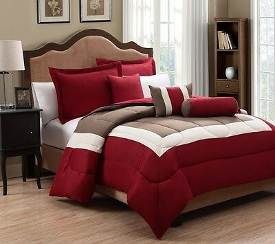 10 Piece Tranquil Red and Taupe Bed in a Bag w/300TC Sheet Set