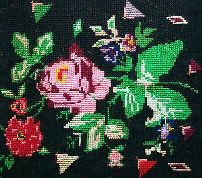 Vintage Floral Needlepoint Tapestry - Wool on Burlap - Canada - Mid 20th Century