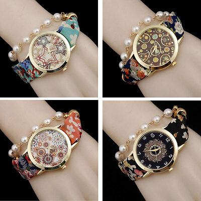 Womens Ladies Boho Floral Faux Pearl Bangle Quartz Wrist Watches Bracelet