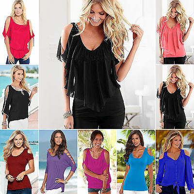 Womens Ladies Sexy Cut out Cold Shoulder Tunic Party Tops Plus size Summer S-5XL