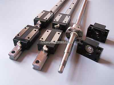 16mm ballscrew RM1605-400mm+BK/BF12 end bearing+15mm Linear Guideway 2 Rail CNC
