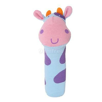 Cow Squeaky Baby infant Squeaker Rattle bar Soft Plush Toy gift Blue purple pink
