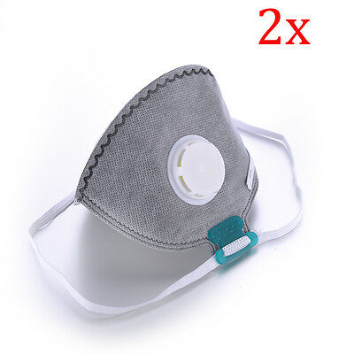 2Pcs Activated Carbon Anti Dust Mouth Mask Muffle Filter Respirator Air Safety