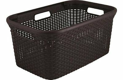 CURVER Rattan Style Laundry Basket, 45 L, Dark Brown