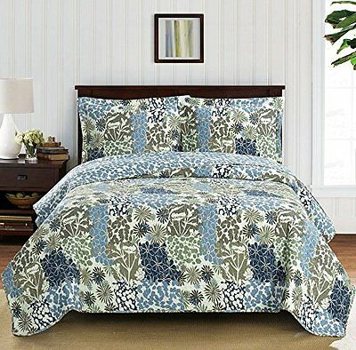Elena California-King Size, Over-Sized Coverlet 3pc set, Luxury Printed Quilt