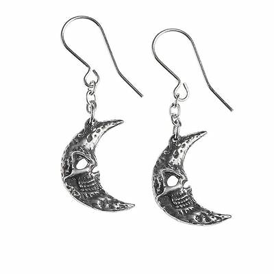 Alchemy Gothic M'era Luna Crescens - Tragicom Pewter Pair of Earrings BRAND NEW
