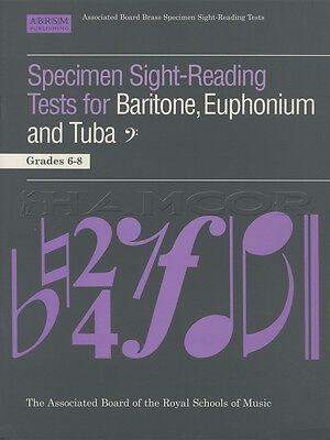 Tuba Baritone Euphonium Sight-Reading Tests Grades 6-8 ABRSM Music Book Bass BC