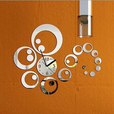 Creative Removable Mirror Wall Beauideal Clock Stickers Art Decoration