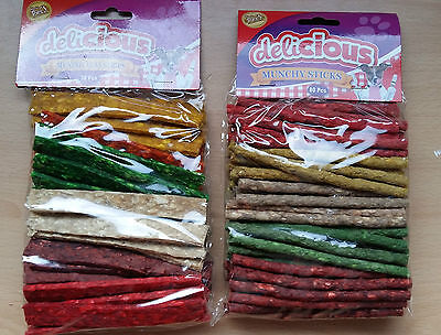 30 / 80 World Of Pets Munchy Strips Flat Round Chews Colours Dog Chew Sticks