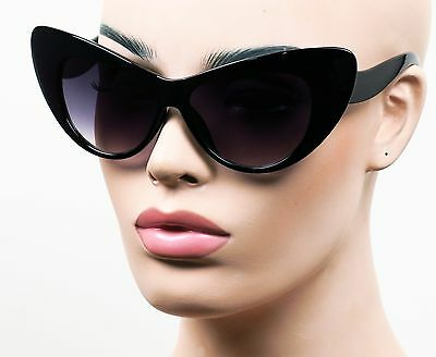 582475f677 Oversized Extra Large Cat Eye Sunglasses Jackie O Vintage Style Smoke Black  K569
