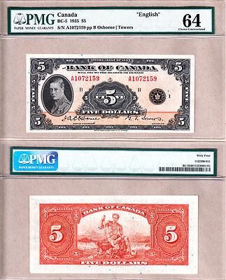 1935 $5 Bank of Canada Prince of Wales in PMG Choice UNC64.  BC-5