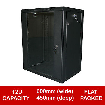 "12U 19"" Black Network Cabinet Data Comms Wall Rack- 600 X 450Mm - Flat Packed"