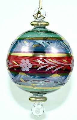 Egyptian Glass Ornament - 3 Color Floral Etched Ball