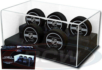 ICE HOCKEY PUCK GRANDSTAND DISPLAY CASE for 5 Pucks