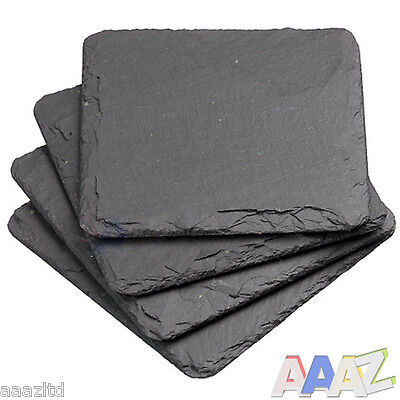 Set Of 4 Slate Square Coasters Coffee Table Place Mats Drinks Coaster Placemats