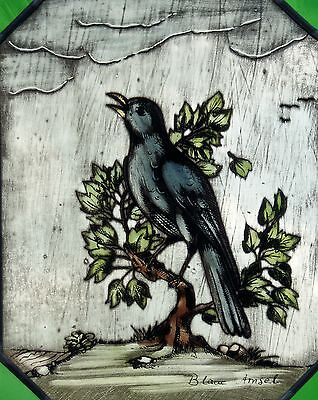 "Stained glass Leaded Glass Window Mural Bernhardt- stained glass ""Blue Amsel"""