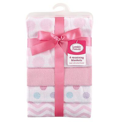 Girls Luvable Friends Flannel Receiving Blankets, Pink Dots, 4 Count
