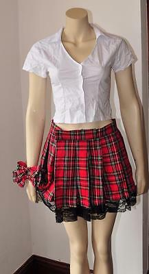 SCHOOL GIRL STUDENT FANCY DRESS hen party costume naughty girl outfit S/M new