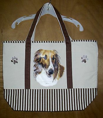 BORZOI - 100% Cotton Canvas, heavy duty, X-Large TOTE BAG