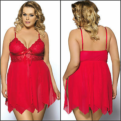 AU New Sexy Plus Size Lace Mesh Overlay Bright Red 2PC Babydoll Lingerie Set