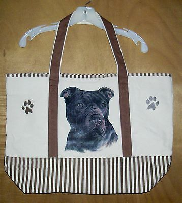 Black STAFFORDSHIRE BULL TERRIER - Cotton Canvas, heavy duty, X-Large TOTE BAG