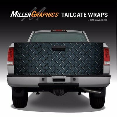Black Diamond Plate Metal Truck Tailgate Wrap Graphic Decal